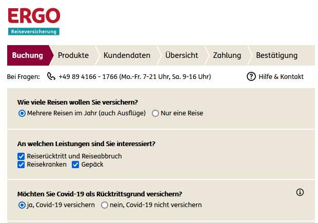Reiseversicherungen von Ergo als Werbemittel von travianet