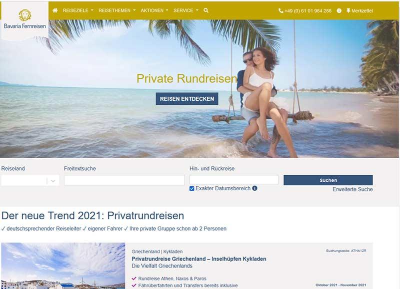 Das Angebot von Bavaria Fernreisen als Werbemittel von travianet